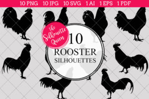 Rooster Silhouettes Clipart Clip Art (AI