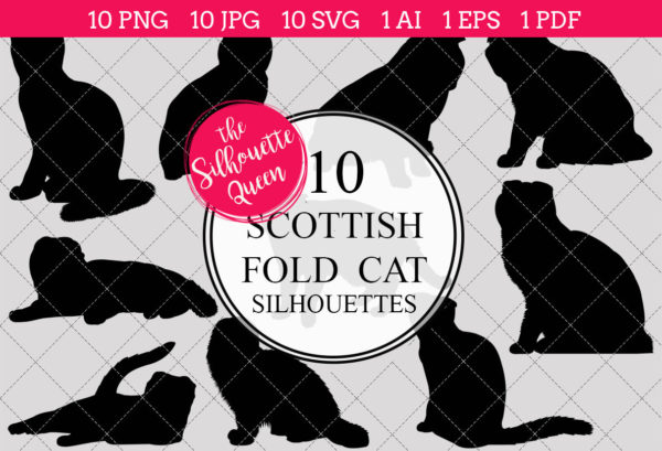 Scottish Fold Cat Silhouettes Clipart Clip Art(AI