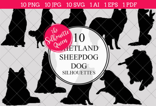 Shetland Sheep Dog Silhouettes Clipart Clip Art (AI