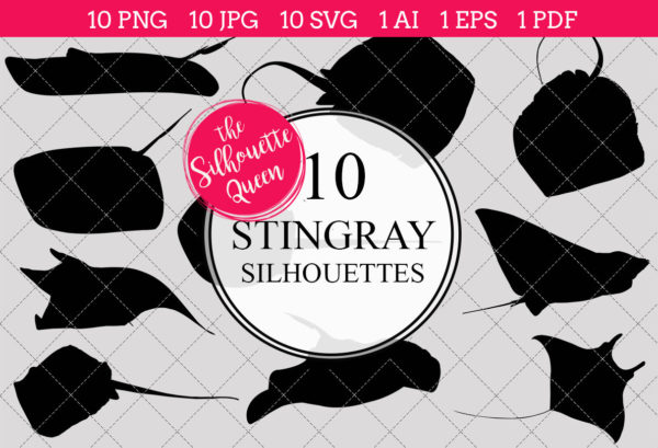 Sting Ray Silhouettes Clipart Clip Art (AI