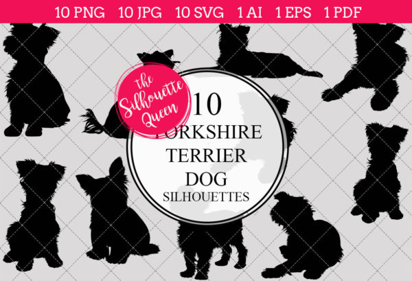 Yorkshire Terrier Dog Silhouettes Clipart Clip Art (AI