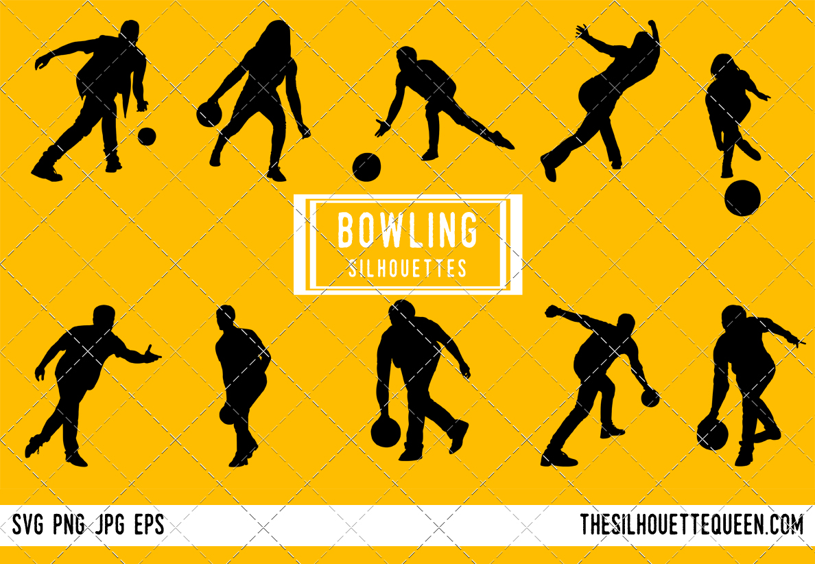 bowling silhouette bowling clipart bowling sports vector svg png
