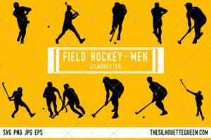 Man Field hockey player silhouette