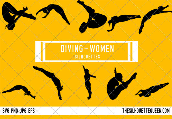 Woman Diving silhouette