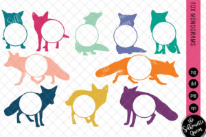 Fox Svg, Monogram Svg, Circle Frames, Cuttable Design, Cut files, Silhouette Studio files, Cricut files, Vector, Svg, Dxf, Eps, Png