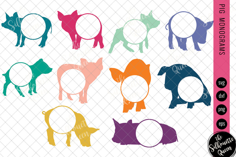 Pig Svg, Monogram Svg, Circle Frames, Cuttable Design, Cut files, Silhouette Studio files, Cricut files, Vector, Svg, Dxf, Eps, Png