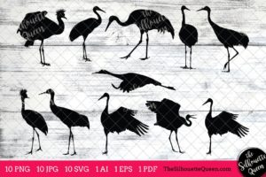 Crane Bird SVG Files Bundle