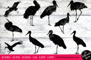 Stork Bird SVG Files Bundle