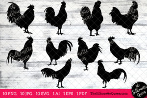 Rooster Bird SVG Files Bundle
