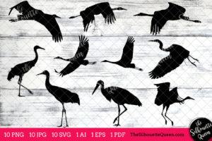 Whooping Crane Bird SVG Files Bundle