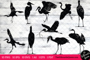 Heron Bird SVG Files Bundle
