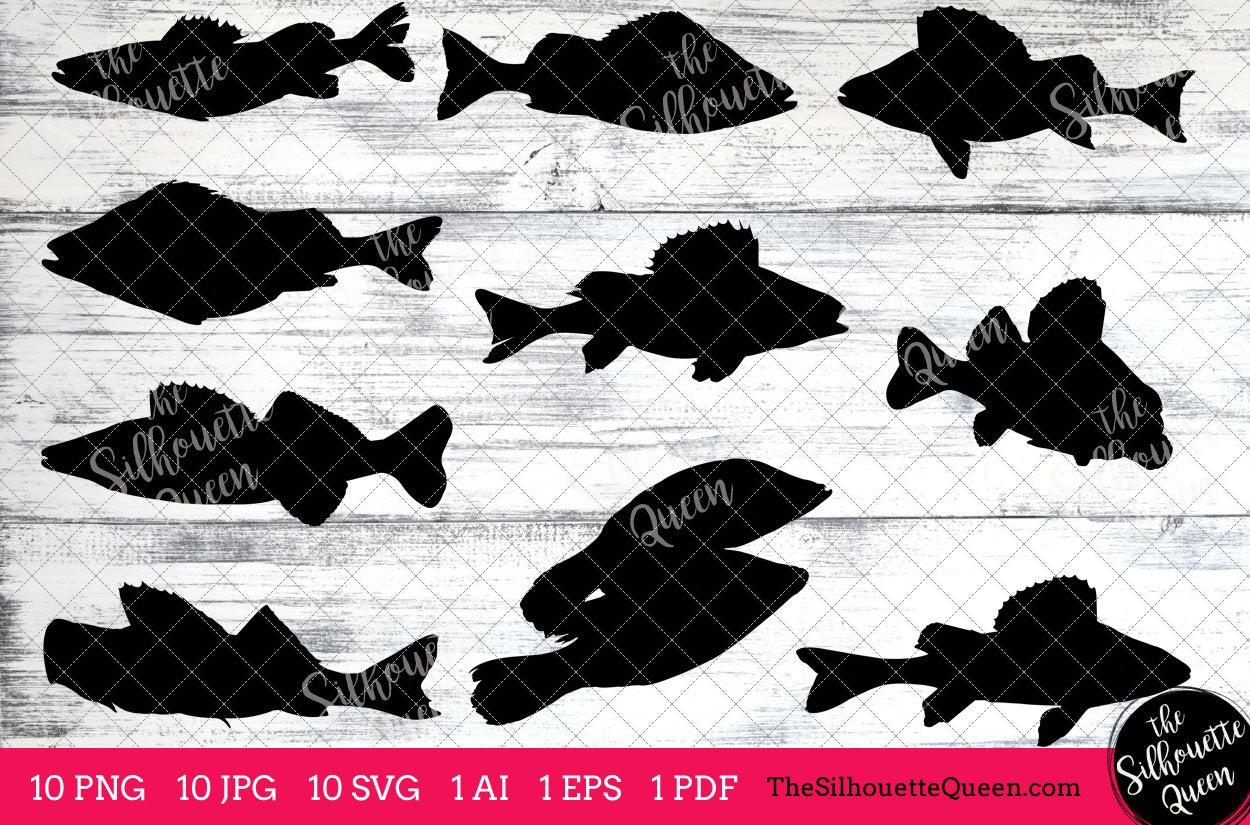 Download Fishing Svg Perch Fish Svg Perch Fish Cut File For Cricut Design Silhouette Studio Fisherman Clipart Father S Day Svg Png Eps Pdf The Silhouette Queen
