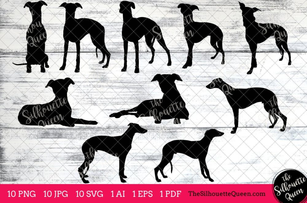 Whippet Silhouette dog svg