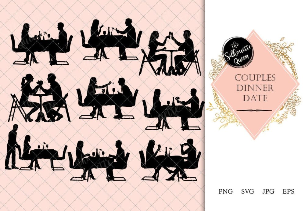 Couple having Dinner Silhouette | Restaurant Date Clipart | Romantic Meal Graphics | SVG PNG JPG Vector
