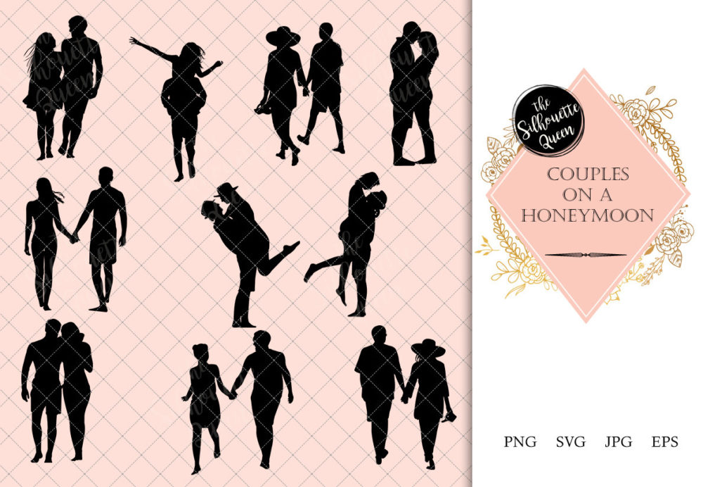 Couple on Honeymoon Silhouette | People Walking Clipart | Beach Walk Graphics | SVG PNG JPG Vector | Logo