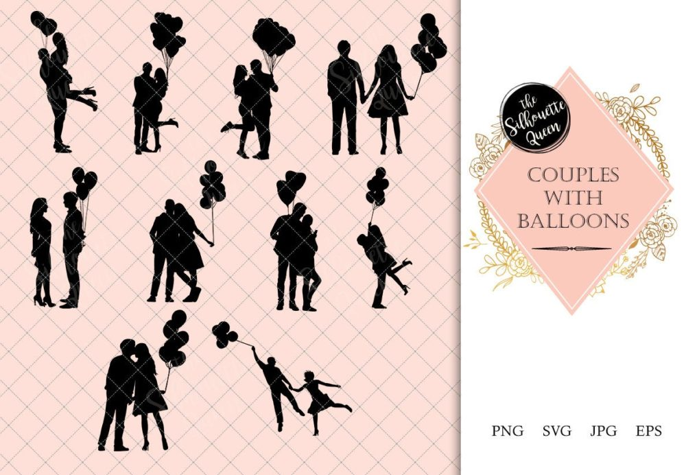 Couples with Balloons Silhouette | Love Vector | Romantic Date | SVG PNG JPG Clipart Clip art Logo
