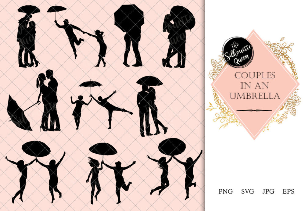 Couples in an Umbrella Silhouette |  Love in Rain Vector | Romantic Date | SVG PNG JPG Clipart Clip art Logo