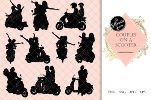Couples on a scooter Silhouette |  Vespa  Vector | Romantic Date on Moped | SVG PNG JPG Clipart Clip art Logo