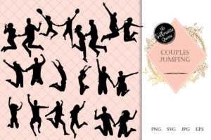 Couples Jumping Silhouette | Happiness Vector | Jumping with Joy | SVG PNG JPG Clipart Clip art Logo