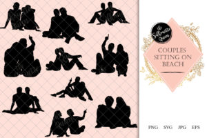 Couple Sitting Floor Beach Silhouette | Honeymoon Vector | Relaxing Vacation | SVG PNG JPG Clipart Clip art Logo