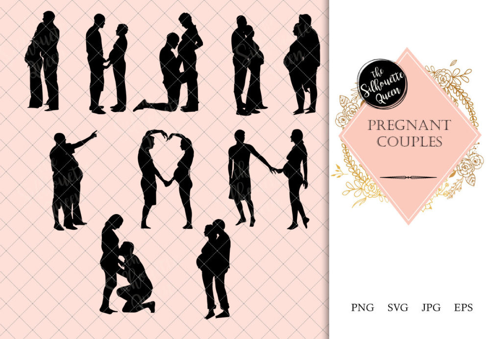 Pregnant Couple Silhouette |Expecting Baby Vector | Husband and Wife Family | SVG PNG JPG Clipart Clip art Logo