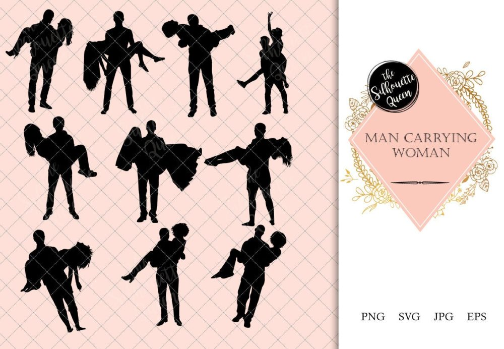 Man carrying Woman Silhouette | Boy Carry Girl Vector | Romantic Lovers Flirting | SVG PNG JPG Clipart Clip art Logo