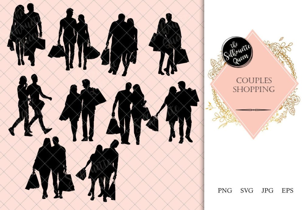 Couples Shopping Silhouette | Man Woman carrying Bags Vector | Modern Lifestyle | SVG PNG JPG Clipart Clip art Logo