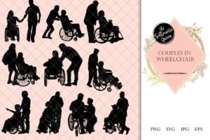 Couple in Wheelchair Silhouette | Disabled with Assistance | Husband Wife in Hospital | SVG PNG JPG Clipart Clip art Logo
