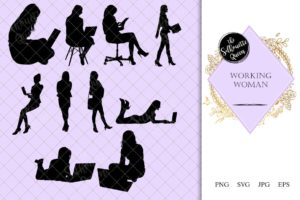Working Women Silhouette |Lady on Laptop in Office Vector | Business Woman | SVG PNG JPG Clipart Clip art Logo