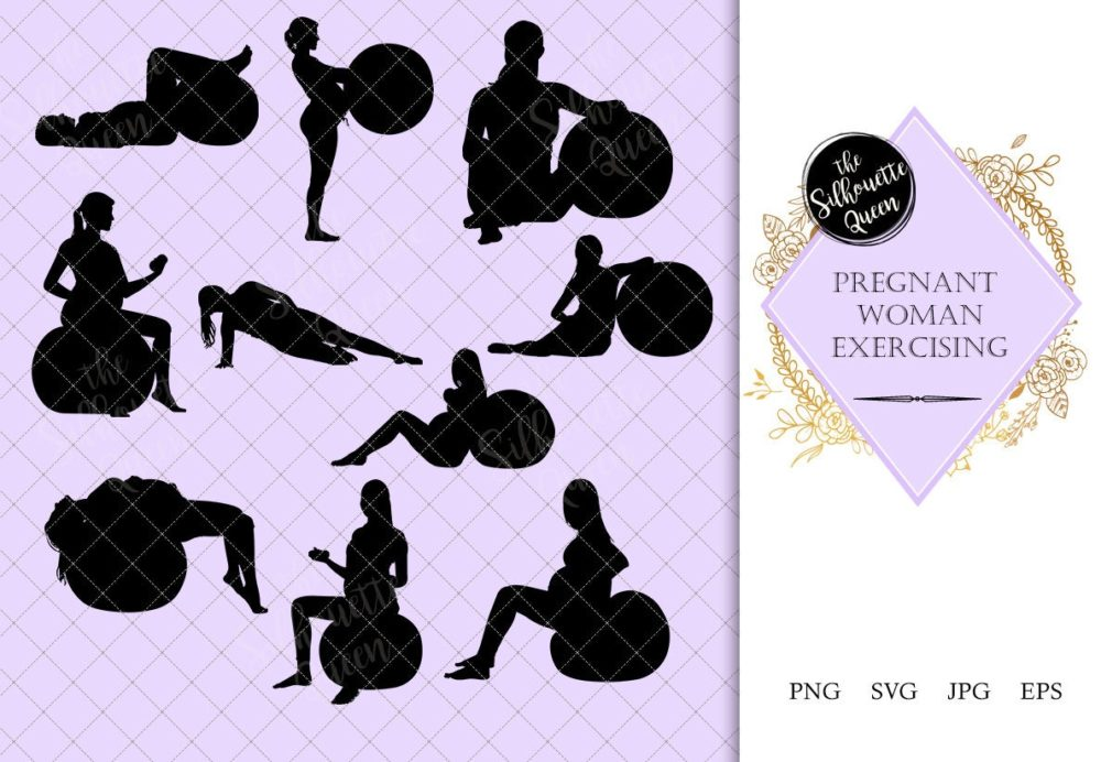 Pregnant Woman Exercising Silhouette | Yoga by Expectant Mother Vector | Pregnancy Yoga | SVG PNG JPG Clipart Clip art Logo