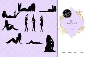 Fit Woman Silhouette |Sensual female Vector | Beautiful Girl Posing | SVG PNG JPG Clipart Clip art Logo