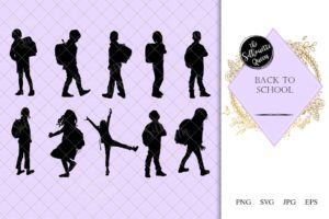 Back to School Kids Silhouette |Kid with Backpack Vector | Kid Student  | SVG PNG JPG Clipart Clip art Logo