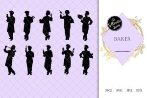 Baker Silhouette | Chef Confectioner Vector | Pastry Chef | SVG PNG JPG Clipart Clip art Logo