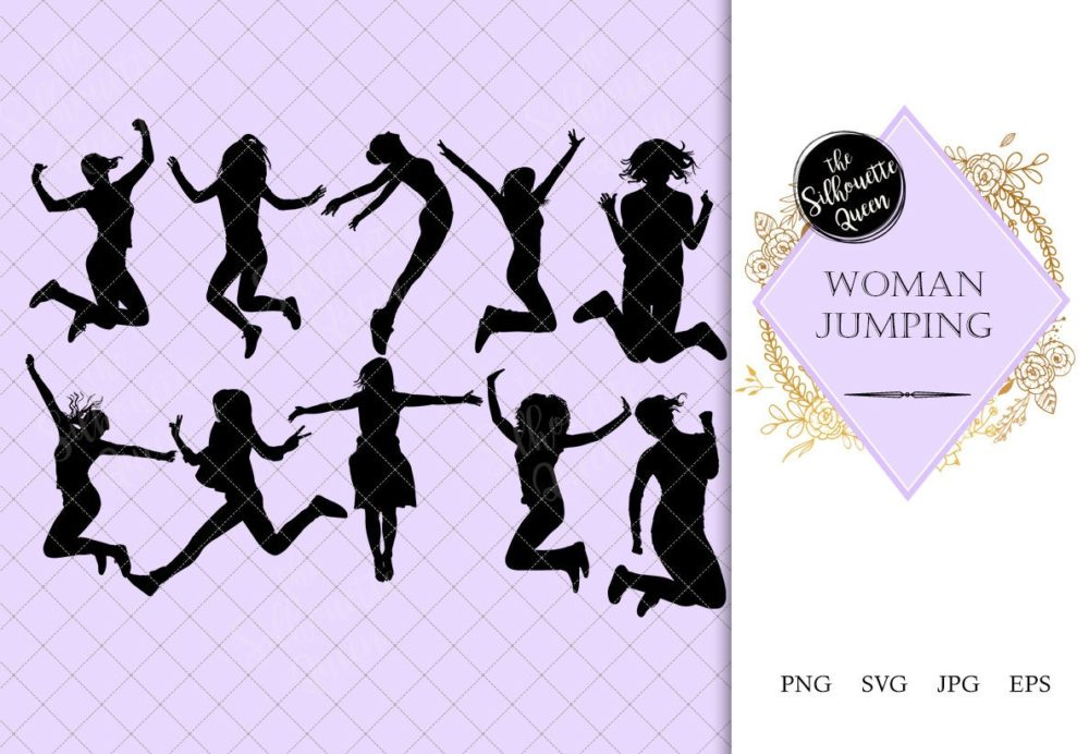 Woman Jumping Silhouette | Female Jump with Joy Vector |Happy Youth | SVG PNG JPG Clipart Clip art Logo