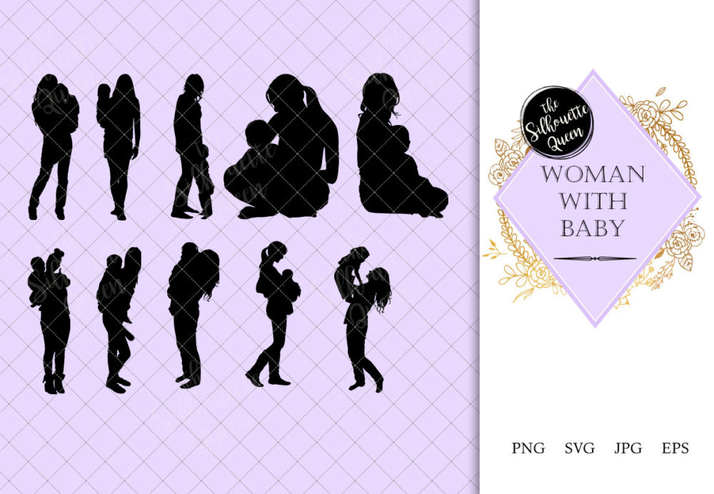 Woman with Baby Silhouette | Mother with Kid Vector | Motherhood | SVG PNG JPG Clipart Clip art Logo