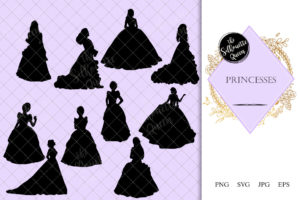 Princess Silhouette | Cinderella Queen Vector | Costume with Tiara | SVG PNG JPG Clipart Clip art Logo