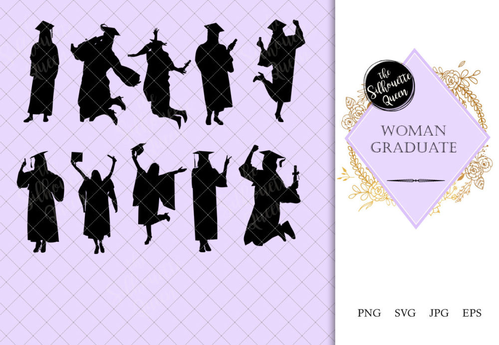 Woman Graduate Silhouette | University Student Celebration Vector | College Degree | SVG PNG JPG Clipart Clip art Logo