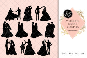 Wedding Couple Dance Silhouette |  Bride and Groom Dancing Clipart | Ballroom Dancing Graphics | SVG PNG JPG Vector