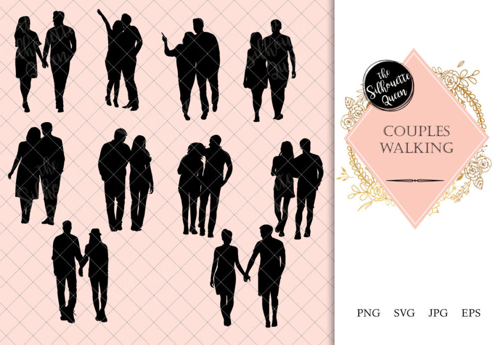 Couple Walking Silhouette | People Walking Clipart | Evening Walk Graphics | SVG PNG JPG Vector | Logo