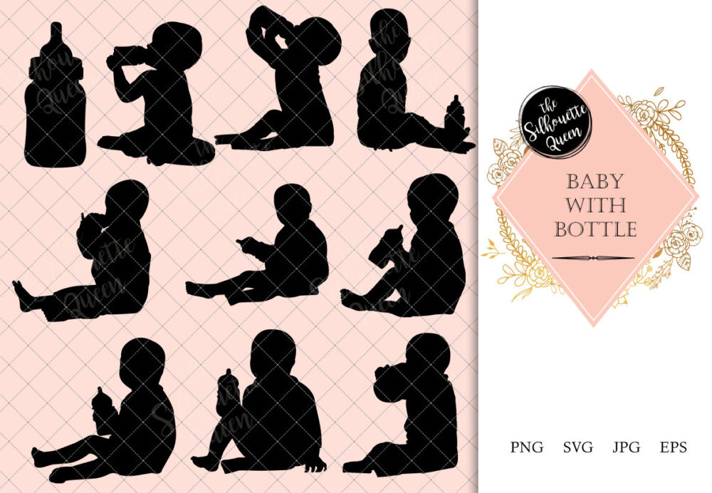 Baby with Bottle Silhouette
