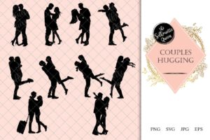 Couples Hugging Silhouette | Love Vector | Romantic Kiss | SVG PNG JPG Clipart Clip art Logo