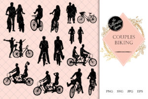 Couples Biking Silhouette | Bike Riding  Vector | Fit and Excercise | SVG PNG JPG Clipart Clip art Logo
