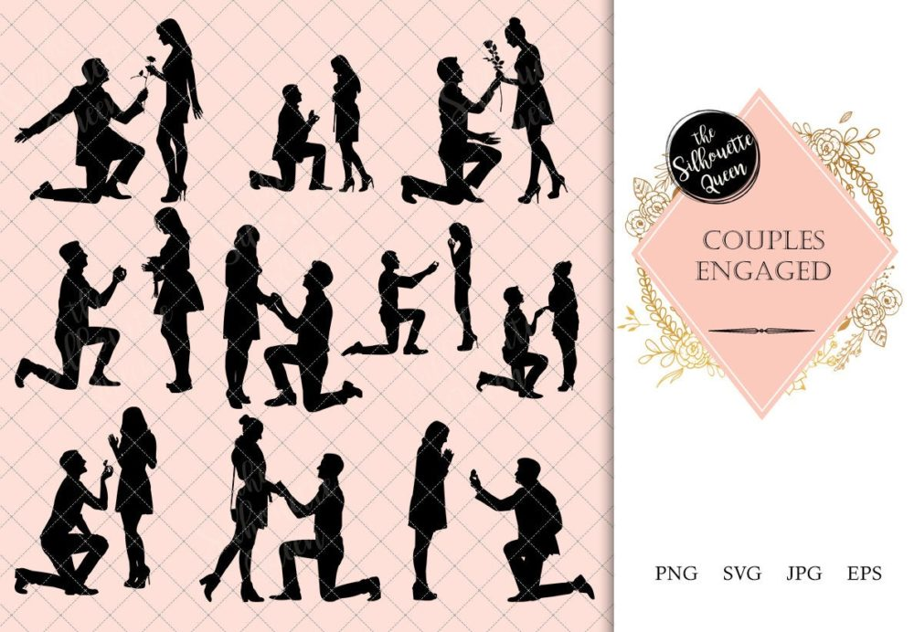 Couple Engaged Silhouette | Marriage Proposal Vector | Engagement Ring | SVG PNG JPG Clipart Clip art Logo