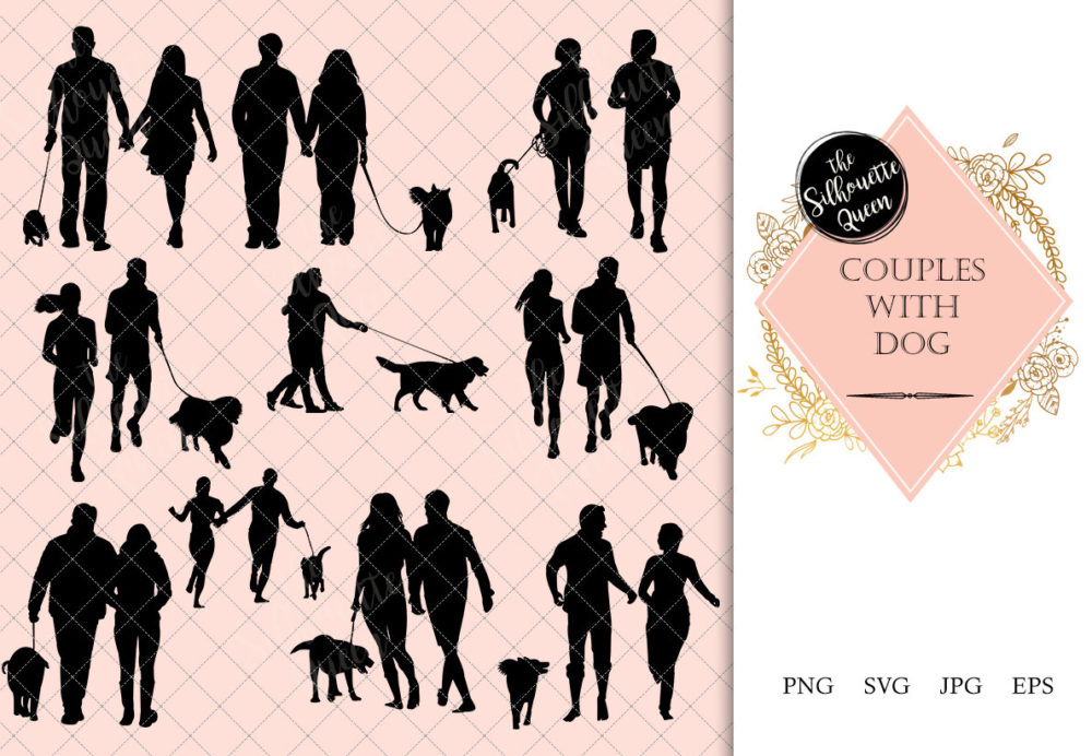 Couples with Dog Silhouette | Dog Walking Vector | Exercise with Dog | SVG PNG JPG Clipart Clip art Logo