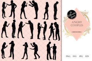Couples Angry Silhouette   Divorce Conflict Husband Wife Vector   Breaking Girlfriend    SVG PNG JPG Clipart Clip art Logo