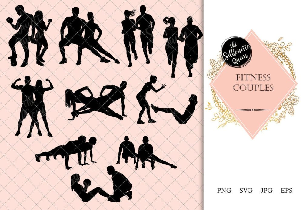 Fitness Couple Silhouette |Boy Girl Execising | Training Trainee by Trainer Vector | SVG PNG JPG Clipart Clip art Logo