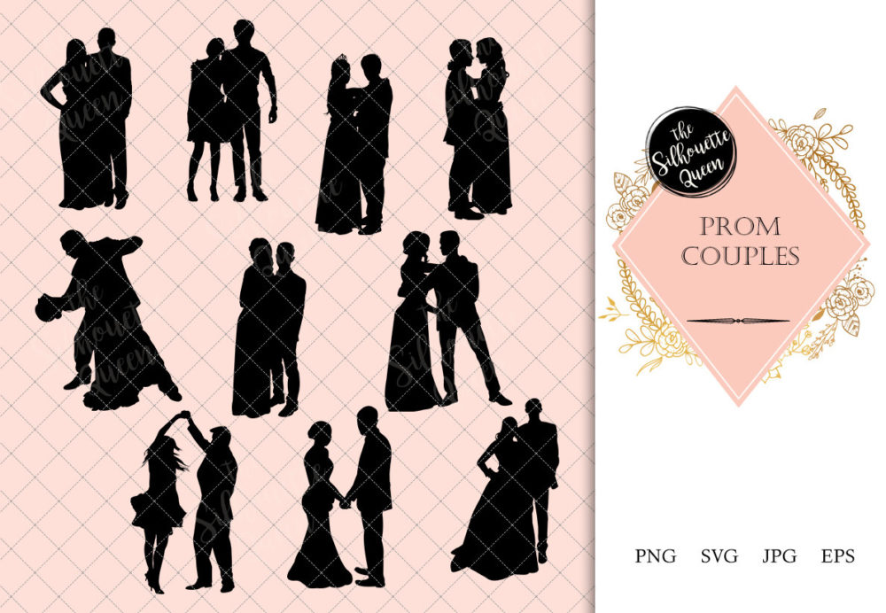 Prom Couple Silhouette   Ballroom Dance Vector   Bride and Groom   SVG PNG JPG Clipart Clip art Logo