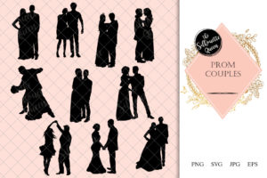 Prom Couple Silhouette | Ballroom Dance Vector | Bride and Groom | SVG PNG JPG Clipart Clip art Logo