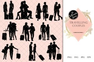 Travelling Couple Silhouette | Corporate Ceo Business Vector | Executive Business trip | SVG PNG JPG Clipart Clip art Logo