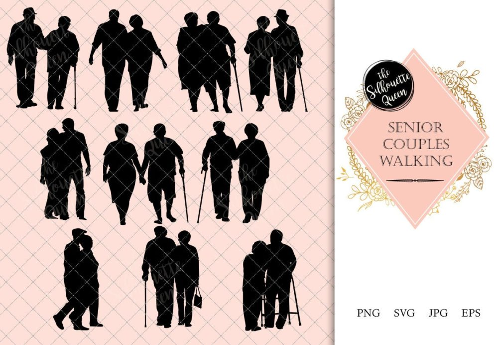 Senior Couple Walking Silhouette | Old People on a Walk Vector | Grandfather and Grandmother | SVG PNG JPG Clipart Clip art Logo